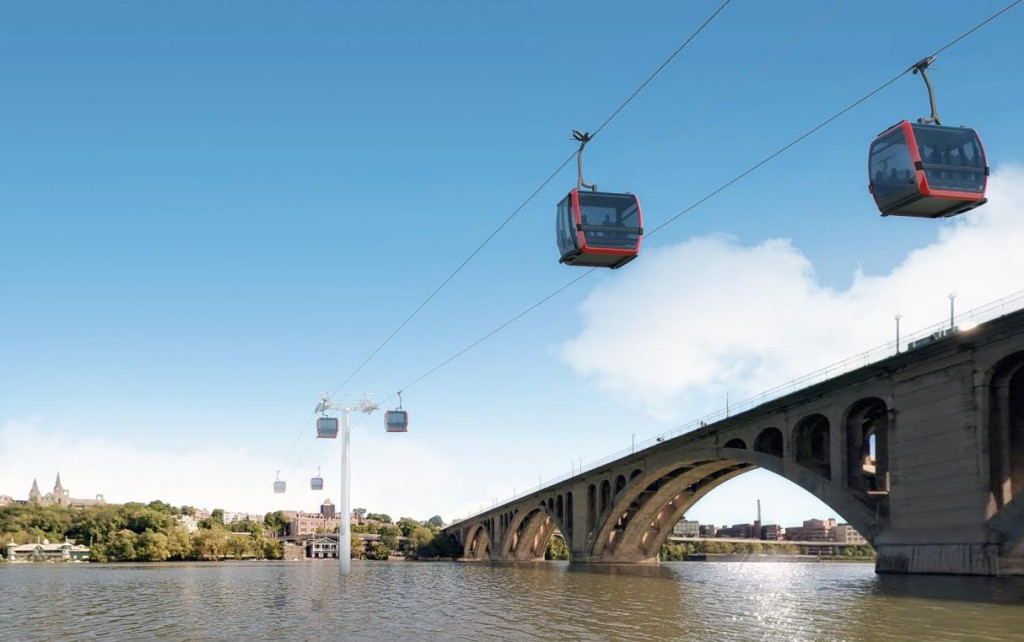 An architectural rendering of a gondola between Georgetown in Washington, D.C., and Rosslyn in northern Virginia.