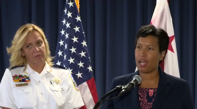 D.C. Mayor Muriel Bowser introduces Police Chief Cathy Lanier at a press conference to announce her retirement.