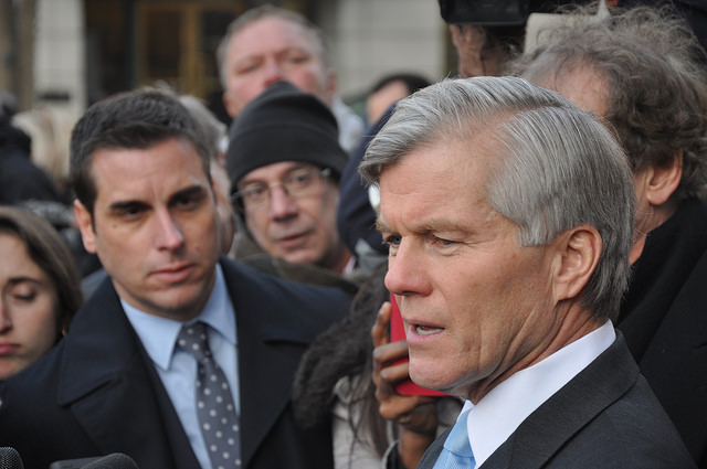 Gov. Bob McDonnell speaks to the press after his sentencing in 2015.