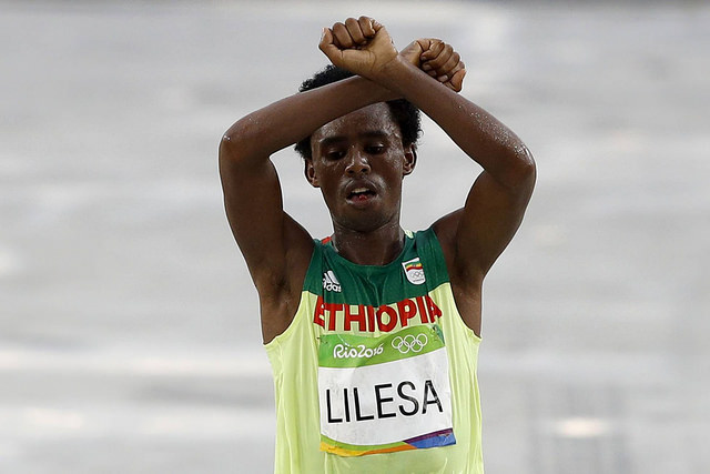 Feyisa Lilesa, silver medalist at the 2016 Rio Olympics.