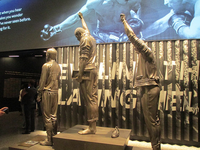 A statue depicting the famous medal stand protest by Tommie Smith and John Carlos at the 1968 Olympics.