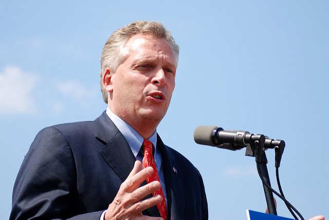 Terry McAuliffe speaking at Frying Pan Park in Herndon, Va. in 2009.