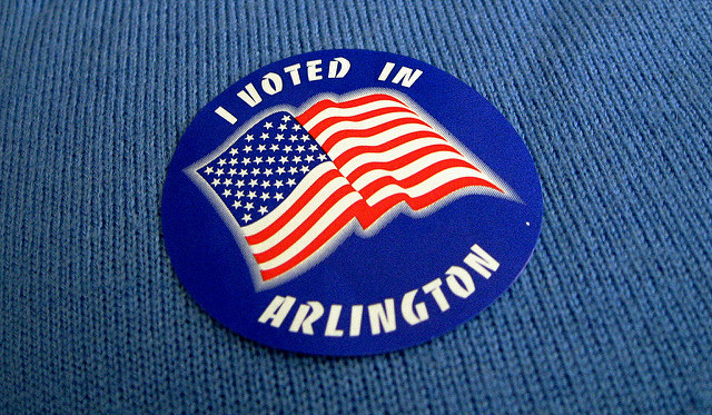 "An ""I Voted"" sticker from Arlington, Va. in 2008."
