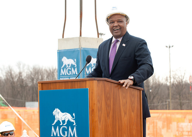 Prince George's County Executive Rushern Baker at the MGM National Harbor construction site in 2015.