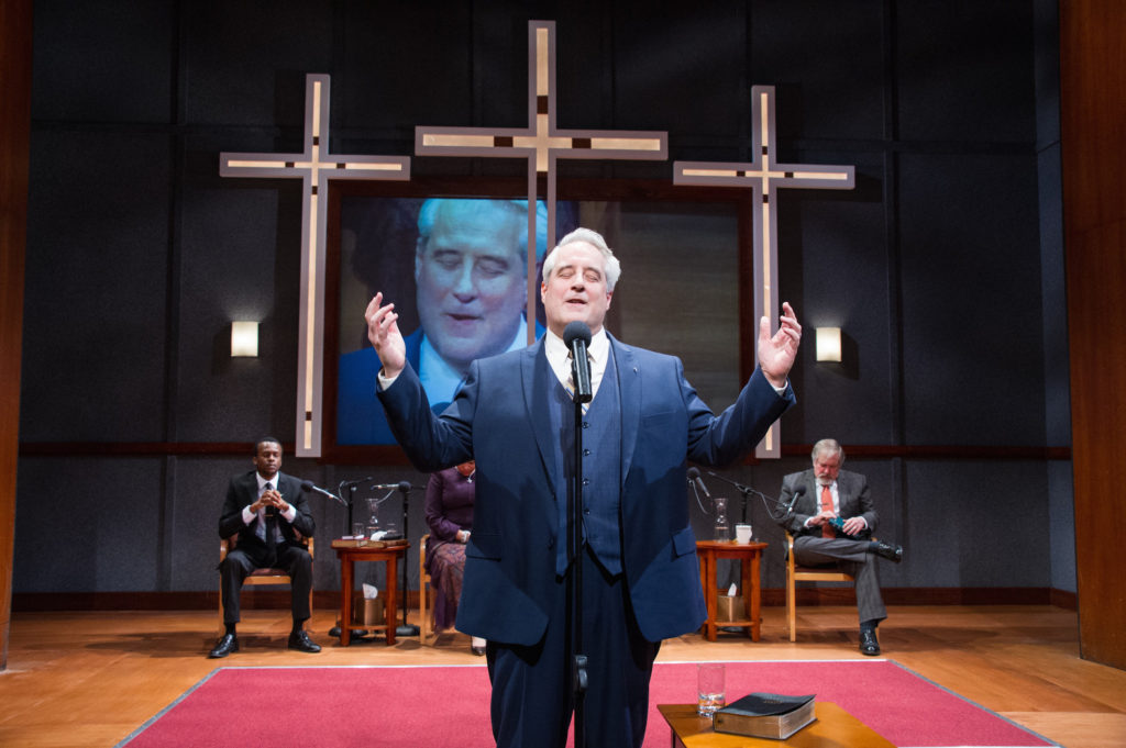 """Justin Weaks, Michael Russotto and Michael Willis in """"The Christians"""" at Theater J."""