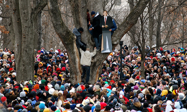 Attendees at President Obama's 2009 inauguration.