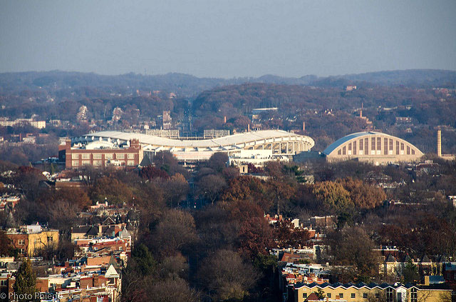 View of the top of the RFK Stadium and DC Armory from the U.S. Capitol dome.
