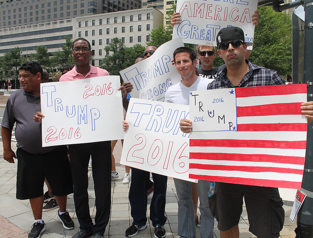 Trump supporters counter a protest across from Freedom Plaza on Pennsylvania Avenue at 13th Street, NW, in 2015.