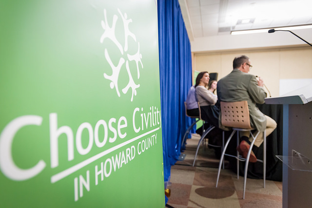 """Panelists discuss online civility at a 2015 event. """"Choose Civility"""" is Howard County Library System's official slogan."""