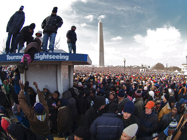 The crowd at President Barack Obama's first inauguration in 2009.