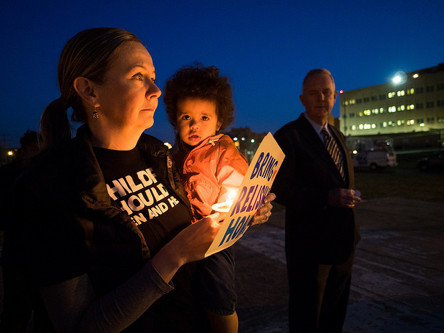 A candlelight vigil for missing child Relisha Rudd in 2014.