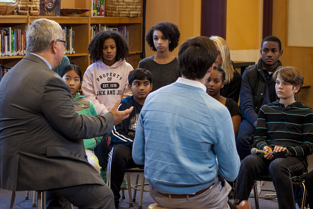 Superintendent Jack White speaking with Montgomery  County Public School students.