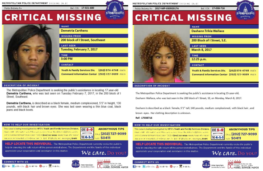 Two formerly missing girls who were reported as found by D.C.'s Metropolitan Police Department in March.