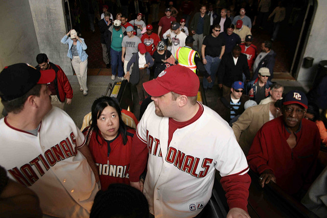 Washington Nationals fans on their way to the 2006 season opening game versus the New York Mets.