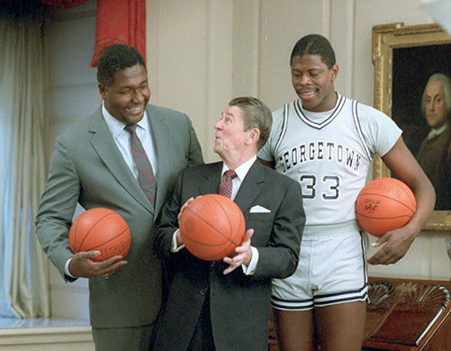 John Thompson, President Ronald Reagan and Patrick Ewing (L-R) pose for the cover of Sports Illustrated in the Map Room in 1984.