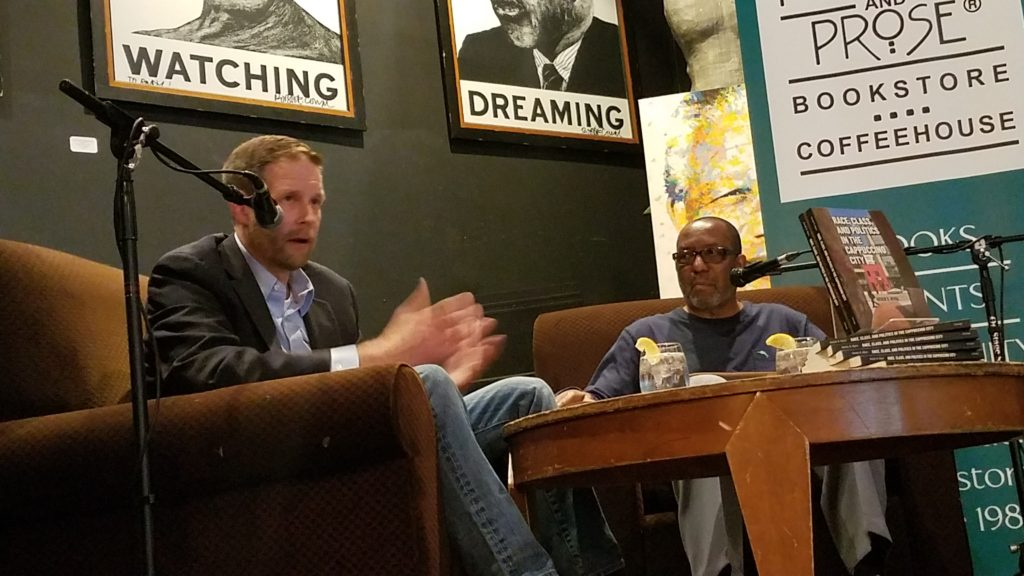 Derek Hyra chats with Kojo at the Busboys and Poets at 14th and V St. NW.