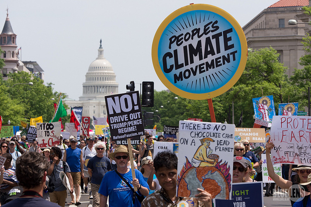 Climate activists at the D.C. Climate March in 2017.