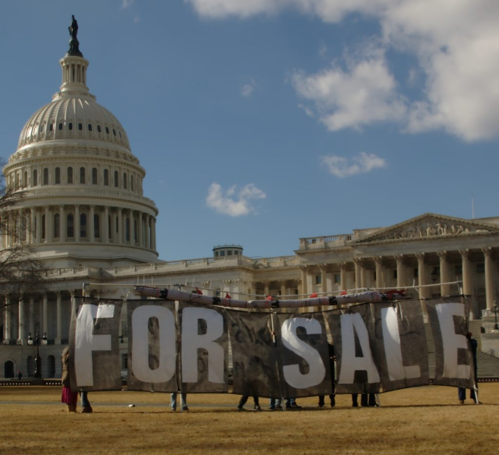 A protest in front of the U.S. Capitol building in 2011.