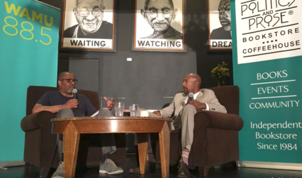 "Kojo Nnamdi (left) and Paul Butler (right) discuss Butler's new book ""Chokehold."""