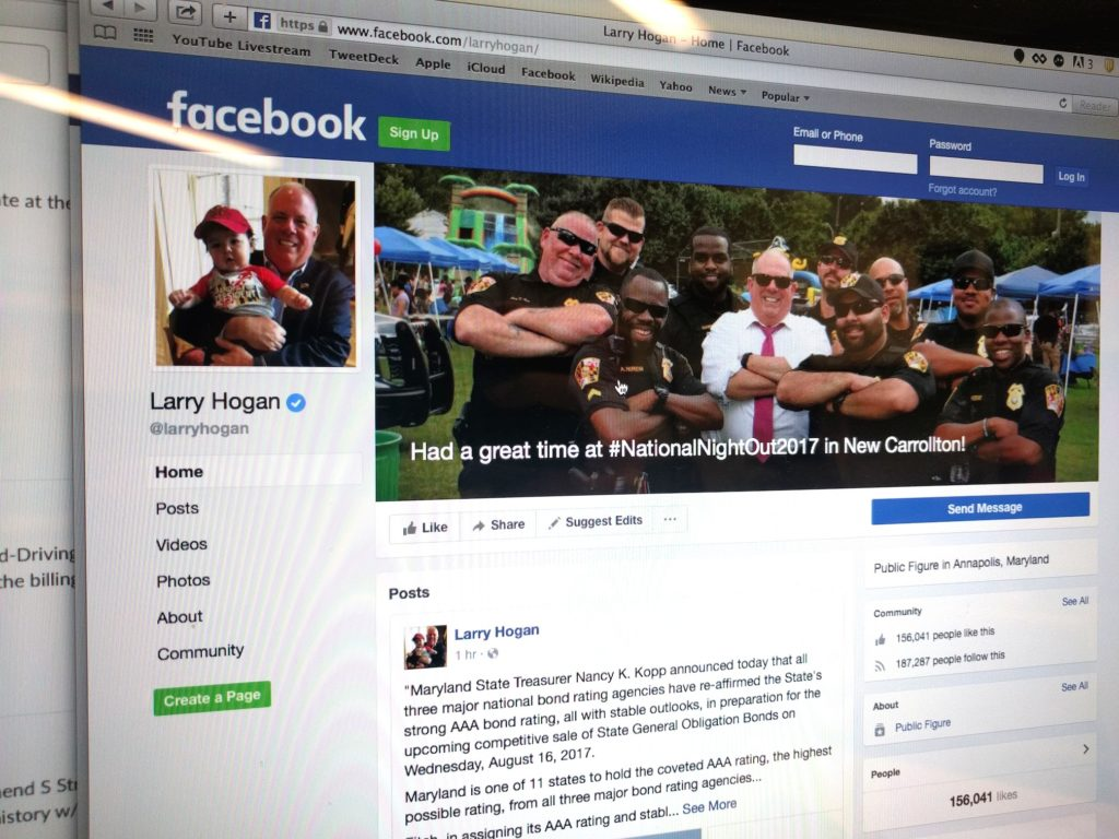 Maryland Gov. Larry Hogan's Facebook page.