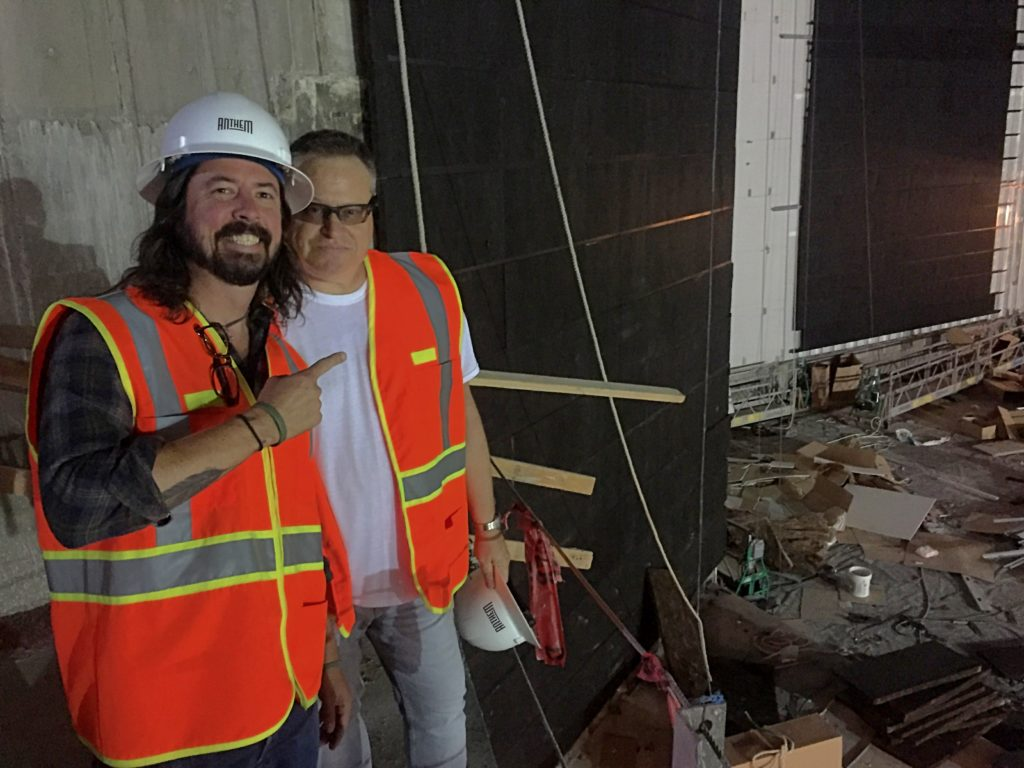 Seth Hurwitz posed inside The Anthem with Dave Grohl of The Foo Fighters when the venue was under construction.