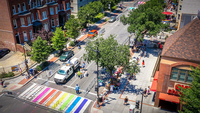 In June 2017, temporary rainbow crosswalks were painted on 17th Street Northwest as a symbol of Washington, D.C.'s long-standing place as a welcoming city for LGBTQ residents and visitors.