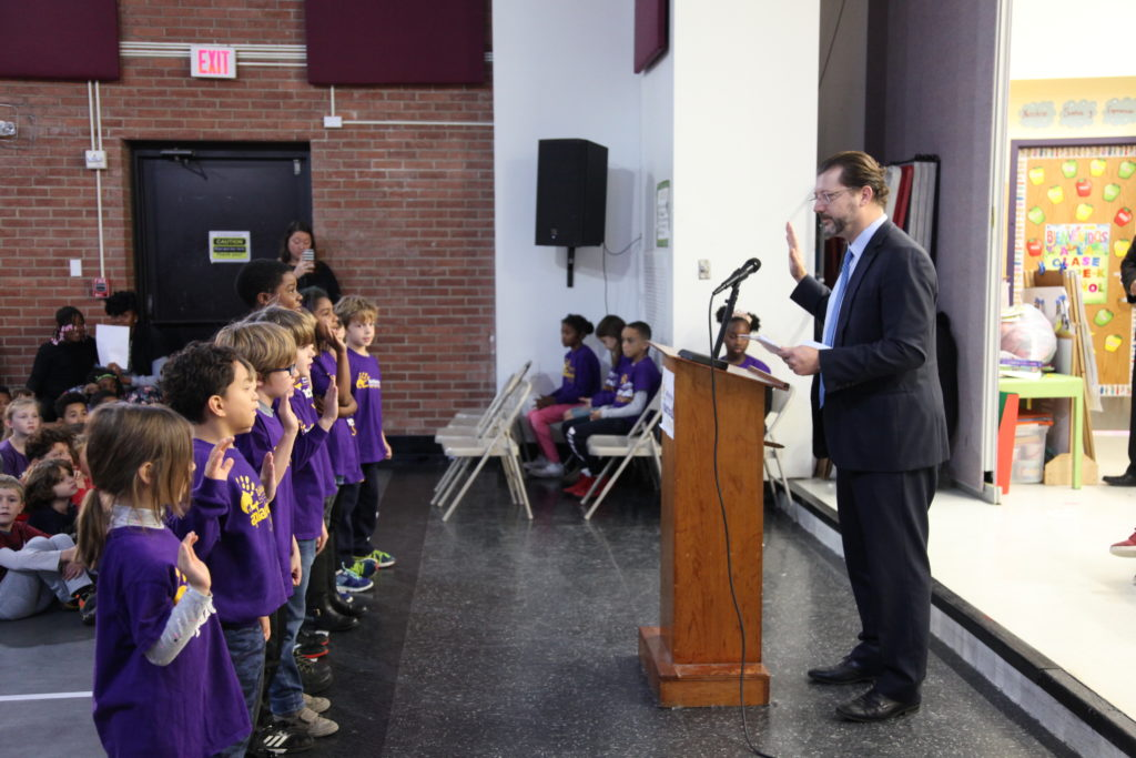 Swearing in students at Elsie Whitlow Stokes Elementary in  NE DC.