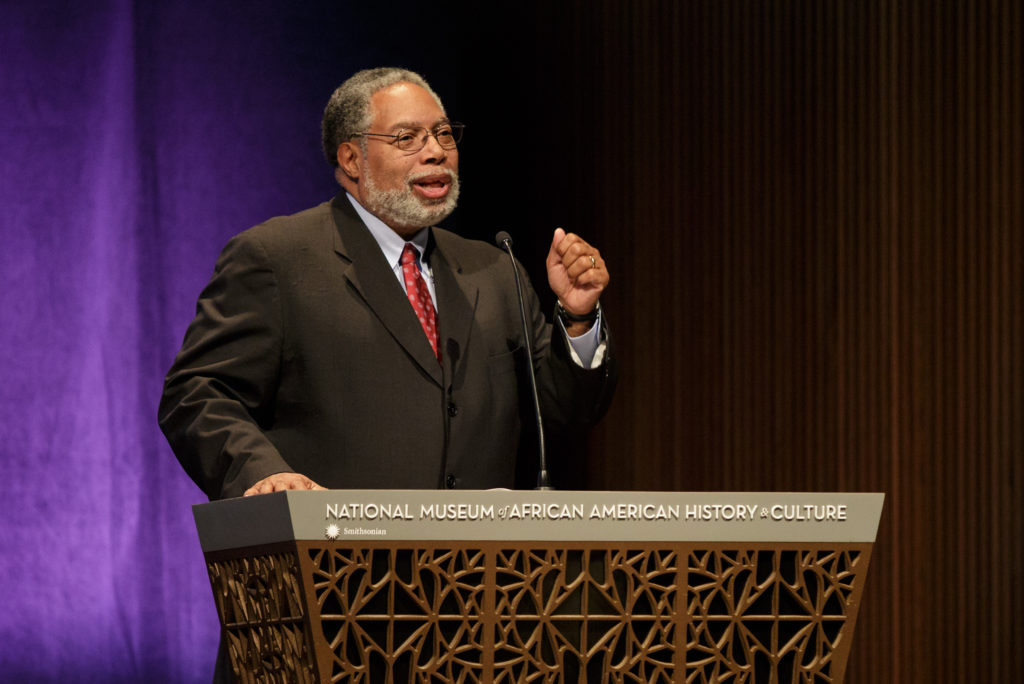 "Director of the Smithsonian's National Museum of African American History and Culture Lonnie G. Bunch III welcomes the audience to a screening of the film ""Hidden Figures"" at the museum."