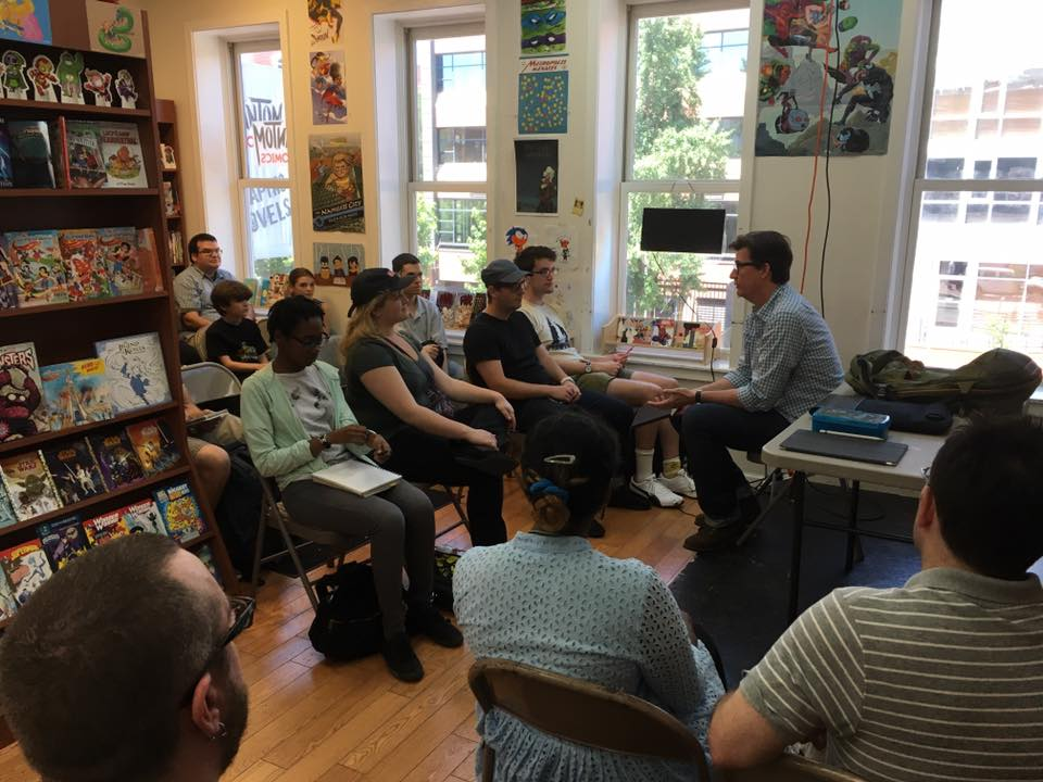 Book club gathering at Fantom Comics in Dupont Circle.