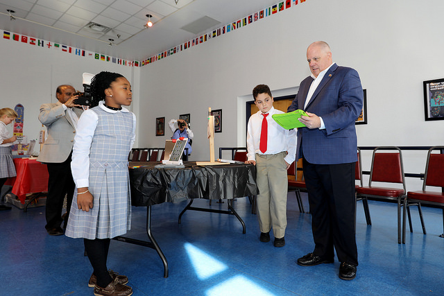 Governor Hogan at the annual Maryland STEM Festival at Maryland International School in Elkridge, Md.