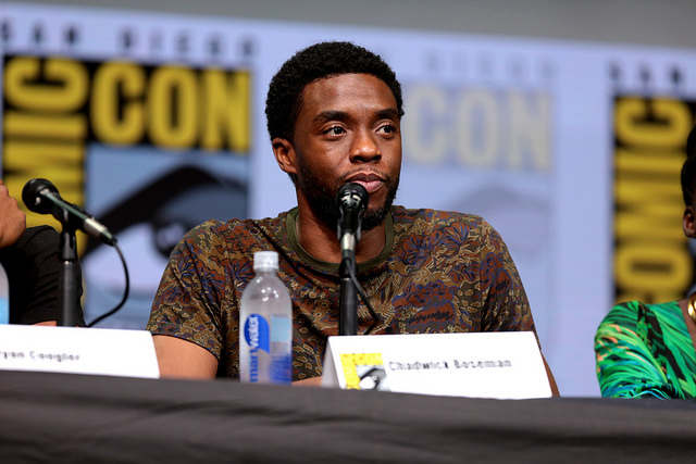 """""""Black Panther"""" actor Chadwick Boseman at the 2017 San Diego Comic Con."""