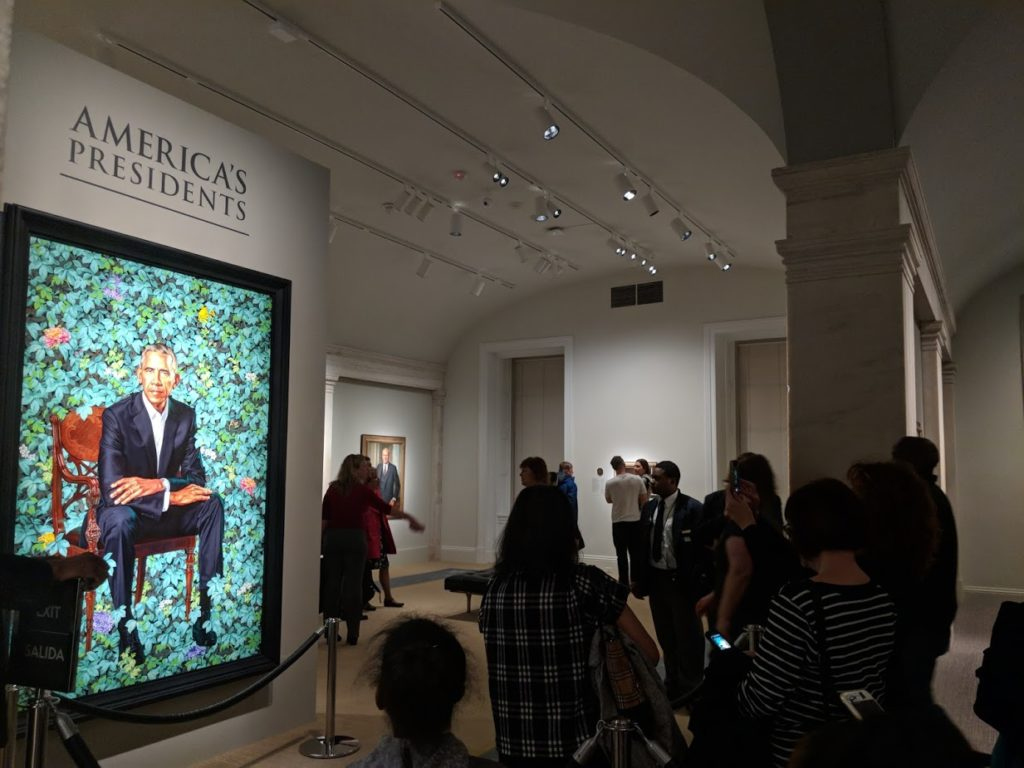 Newly unveiled portrait of President Barack Obama, National Portrait Gallery