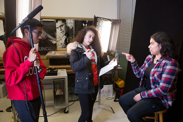 A scene from a digital filmmaking course at Skyline High School in Oakland, Calif.