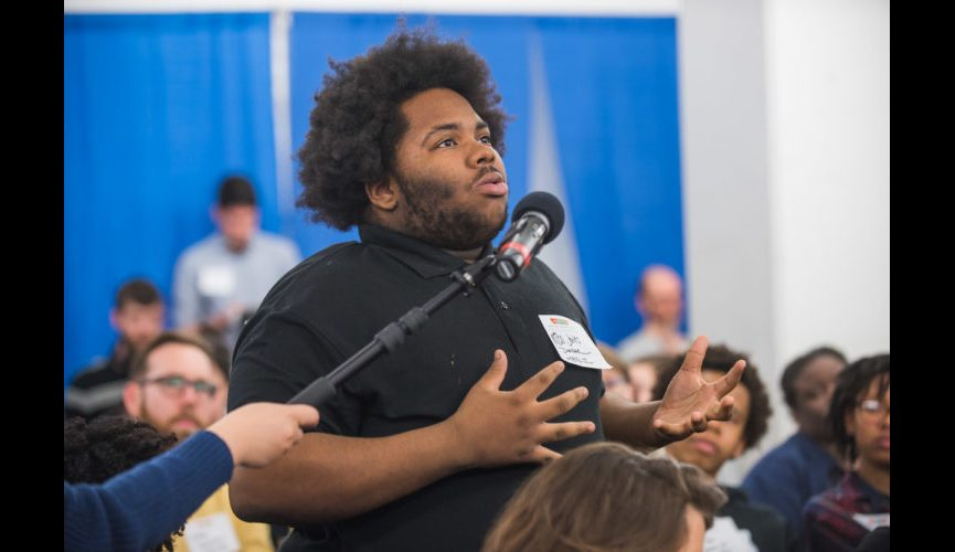 """WASHINGTON, DC – MARCH 20, 2018: WAMU's DC Prep Student Town Hall hosted by Kojo Nnamdi of """"The Kojo Nnamdi Show"""" at DC Prep Benning Elementary Campus in Washington, DC. (Photo by Richie Downs)"""
