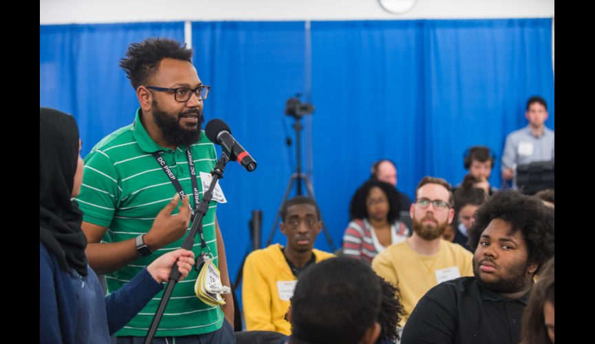 "WASHINGTON, DC – MARCH 20, 2018: WAMU's DC Prep Student Town Hall hosted by Kojo Nnamdi of ""The Kojo Nnamdi Show"" at DC Prep Benning Elementary Campus in Washington, DC. (Photo by Richie Downs)"