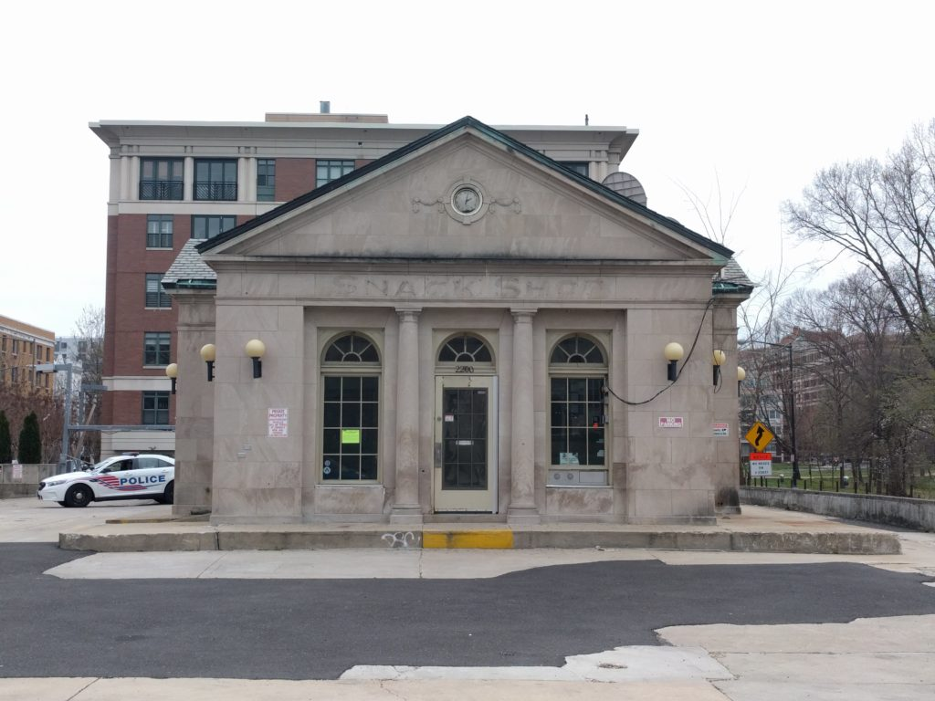 """According to D.C.'s Historic Preservation Review Board, this former gas station at 2200 P Street, NW, is a """"notable example of 1930s gas station architecture, illustrative of efforts to produce more attractive gas stations."""""""