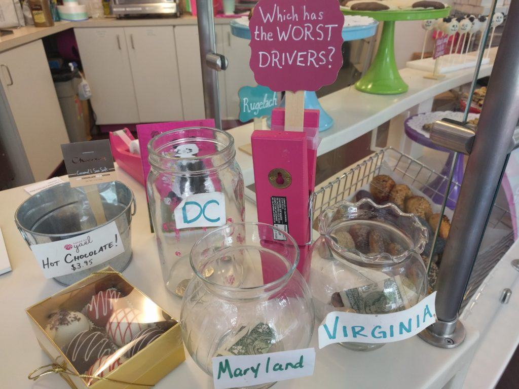 A tip jar at Baked By Yael in Northwest D.C.