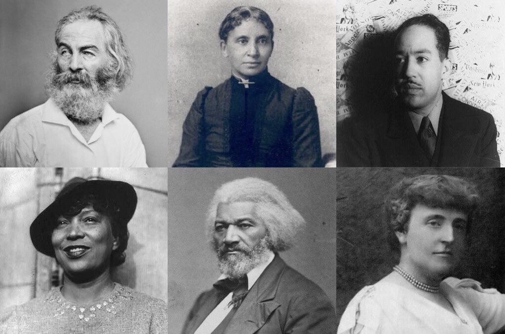 Prominent local authors. Top row, L-R: Walt Whitman, Charlotte Forten Grimké, Langston Hughes. Bottom row, L-R: Zora Neale Hurston, Frederick Douglass, Frances Hodgson Burnett.