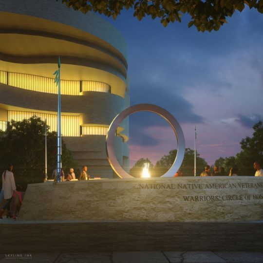 """Artist Harvey Pratt's """"Warriors' Circle of Honor"""" will have a large, upright stainless steel circle set above a stone drum in the center of a circular walkway with carvings of the five military seals."""