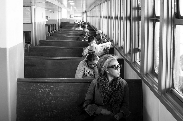 Commuters On Staten Island Ferry, NY