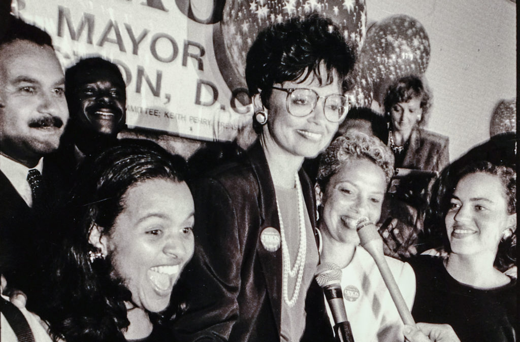 Washington mayoral candidate Sharon Pratt at a campaign event in 1990.