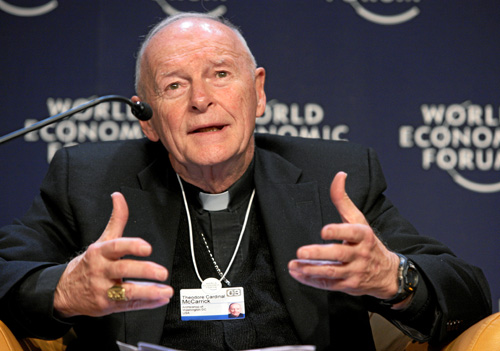 "Cardinal Theodore McCarrick during the session ""Faith and Modernization"" at the World Economic Forum in Davos, Switzerland in 2008."