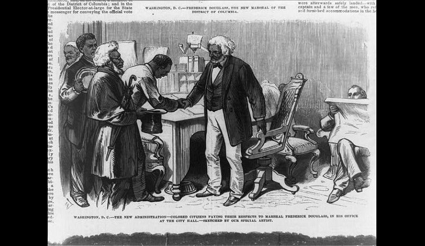 Newspaper illustration of Frederick Douglass meeting Washingtonians