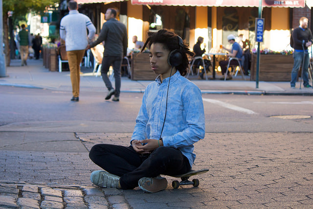 Meditating on a skateboard