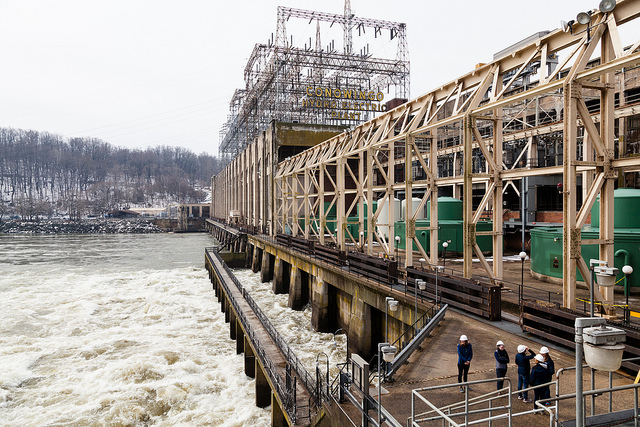 The Susquehanna River flows strongly past the Conowingo Dam near Conowingo, Md., on March 11, 2015.