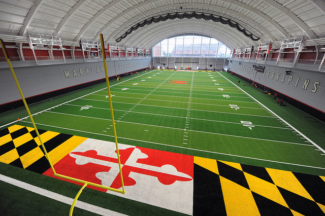The football team's practice space in Cole Field House.