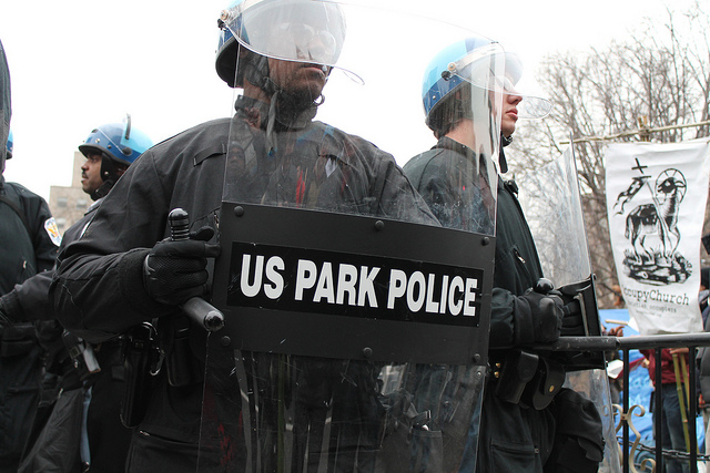 US Park Police dismantling Occupy DC, McPherson Square, 2012