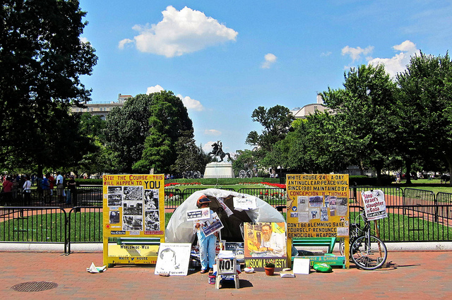"""Concepcion Picciotto, a Spanish-born activist, occupied a """"peace camp"""" in Lafayette Park in 1981 to protest nuclear weapons for decades before her death in 2016."""