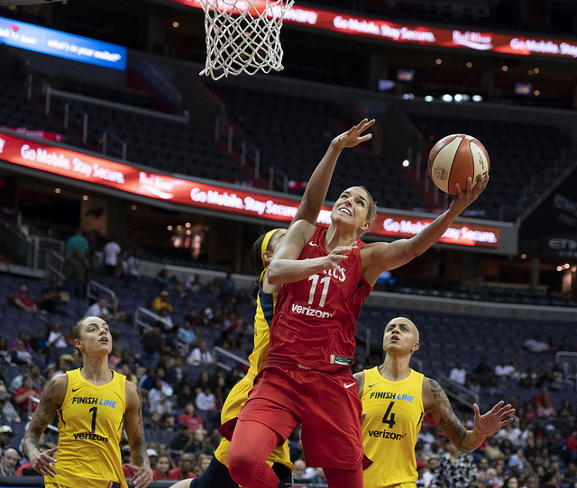 The Washington Mystics' Elena Delle Donne in a game against the Indiana Fever.