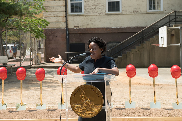 D.C. Public Schools Interim Chancellor Amanda Alexander at the kickoff event for Stevens School in July, 2018.